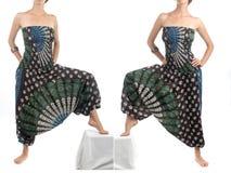 Pantalones multicolores del harén con el modelo indio Foto de archivo