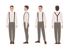 Pantalones que llevan del hombre con las ligas y la camisa Equipo elegante Personaje de dibujos animados masculino elegante aisla stock de ilustración