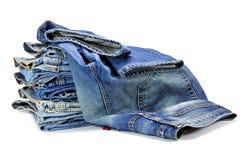 Pantalones vaqueros azules del dril de algodón Fotografía de archivo