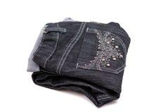 Pantalones vaqueros negros Imagenes de archivo