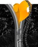 Pantalones vaqueros negros, corazón anaranjado y encadenamientos. Ilustración del vector. Fotos de archivo libres de regalías