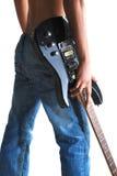 Pantalones vaqueros y guitarra Fotografía de archivo libre de regalías
