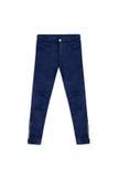 Pantaloni blu del jacquard del modello, isolati su fondo bianco Fotografia Stock Libera da Diritti