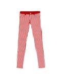 Pantaloni dei jeans con le bande rosse e bianche, isolate su backgr bianco Fotografie Stock Libere da Diritti