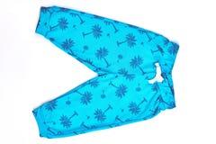 Pantaloni del bambino modellati cotone blu Immagini Stock