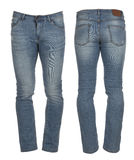 Pantaloni del denim del ` s degli uomini Fotografie Stock