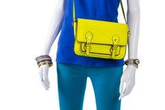 Pantaloni del turchese e borsa della calce Fotografia Stock