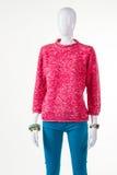 Pantaloni del turchese e maglietta felpata rosa Fotografia Stock Libera da Diritti