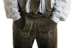 Pantaloni di cuoio bavaresi di Oktoberfest (Lederhose) Fotografia Stock Libera da Diritti