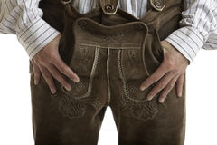 Pantaloni di cuoio originali di Oktoberfest (Lederhose) Immagine Stock Libera da Diritti