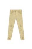 Pantaloni dorati del jacquard del modello, isolati su fondo bianco Fotografie Stock