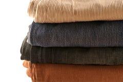 Pantaloni piegati in una pila Immagine Stock