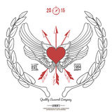 Pantaloni a vita bassa d'annata Logo Angel Heart con il vettore attraversato delle frecce Fotografia Stock Libera da Diritti
