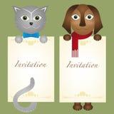 Pantaloni a vita bassa del cane del gattino del gatto della carta dell'invito retro Fotografia Stock Libera da Diritti