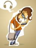 Pantaloni a vita bassa del nerd con il telefono e le cuffie Fotografia Stock Libera da Diritti