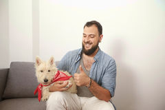 Pantaloni a vita bassa dell'uomo con il cane bianco Immagine Stock Libera da Diritti
