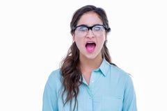 Pantaloni a vita bassa geeky sorpresi con la sua bocca aperta Fotografia Stock