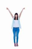 Pantaloni a vita bassa graziosi con le mani sollevate Immagine Stock Libera da Diritti