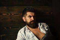 Pantaloni a vita bassa seri in parrucchiere, sguardo Taglio di capelli dell'uomo barbuto, arcaismo Modo e bellezza del maschio di Fotografie Stock Libere da Diritti
