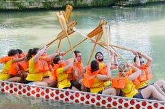 Pantanal de Hangzhou, o jogo da raça de barco do dragão de jovens Foto de Stock Royalty Free