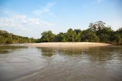 Pantanal Sandbar against Muddy River, Blue Sky Stock Photo