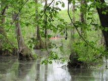 Pantano de Mill State Park del comerciante con la canoa roja Fotos de archivo