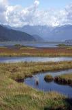 Pantano y montañas Imagen de archivo