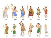 Panteón de dioses del griego clásico, mitología Sistema de caracteres con nombres Ejemplo plano del vector En blanco stock de ilustración