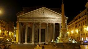 Panteón en la noche, Roma, Italia, timelapse, enfoque hacia fuera, 4k almacen de video