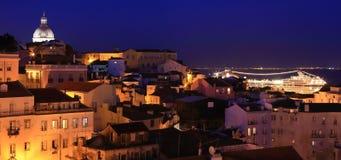 Panteao Nacional and Alfama. View of Lisbon at night, Alfama Royalty Free Stock Image