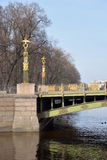Panteleimon Bridge across the Fontanka River. Royalty Free Stock Images