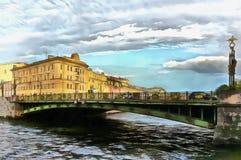 Panteleimonbrug over de Fontanka-Rivier in Peterburg royalty-vrije illustratie