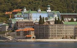 Pantelemon monaster. Y in Athos at summer Royalty Free Stock Photography