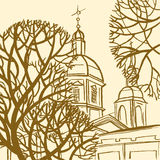 Panteleymon Cathedral in St. Petersburg with trees. Stock Photography