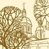 Panteleymon katedra w St Petersburg z drzewami ilustracja wektor