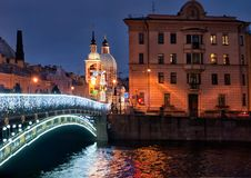 Panteleymonovsky桥梁 圣彼德堡 俄国 库存图片