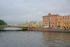 Panteleymonovsky Bridge through Fontanka River in Saint Petersburg, Russia Stock Images