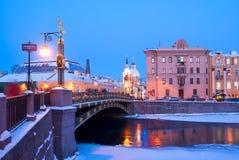 Panteleymonovsky bridge. St. Petersburg. Russia. SAINT - PETERSBURG, RUSSIA - JANUARY 23, 2018: New Year decoration on The Panteleymonovsky bridge over The Stock Image