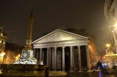 Panteon alla notte, Roma Immagini Stock Libere da Diritti