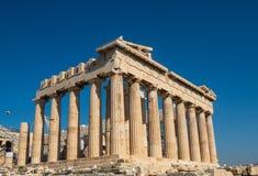 Panteon Ateński akropol - wznawiać ruiny świątynia z Doric kolumnami, budować w 447ï ¿ ½ 438 BC, Grecja obrazy stock