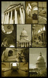 Panteon di Parigi su grunge Immagini Stock Libere da Diritti