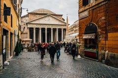 Panteon i Rome på en kall molnig dag, Italien Fotografering för Bildbyråer