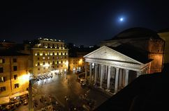 Panteon przy nocą, piazza della Rotonda, Rzym obraz royalty free