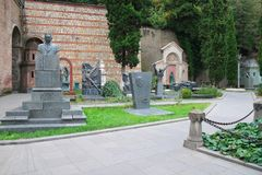 Panteon sławni georgians na Świątobliwym wzgórzu w Tbilisi obraz stock