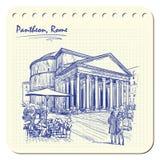 Panteon skissar på en notepad BG Arkivbild