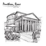 Panteon skissar på en vit BG Arkivbild