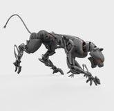 Pantera agresiva del cyborg del metal Fotos de archivo libres de regalías