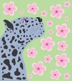 Pantera e cereja oriental. ilustração stock