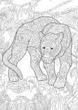 Pantera negra de Zentangle ilustración del vector
