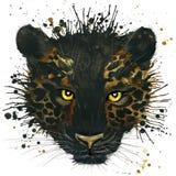 Pantera negra divertida con el chapoteo de la acuarela texturizado ilustración del vector